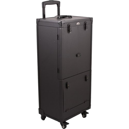 Sunrise 4-Wheels Leather-Like Rolling Hairstylist Makeup Case with Trays