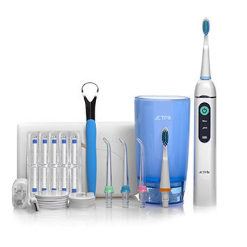 Jetpik JP200 Elite Rechargeable Electric Dental Flosser Oral Irrigator with Pulsating Floss and Water Jet Pik Power and Sonic Toothbrush