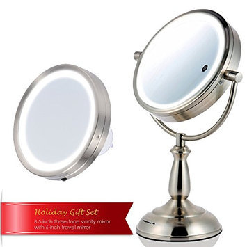 Ovente MPT85BR 8.5 Inch Multi Touch Brushed Tabletop Makeup Mirror with 3 Tone Led Light Option