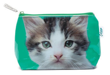 Catseye Kitten On Green Cosmetic Bag