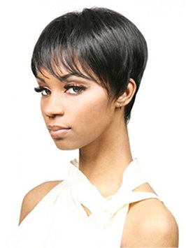 12'' New Fashion Sexy Straight Short Wig Heat Resistant Synthetic Hair with Free Wig Cap and Comb (Black)