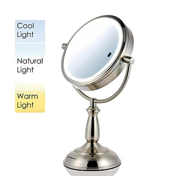 Ovente MPT75BR Multi Touch Tabletop Makeup Mirror with 3 Tone LED Light Option