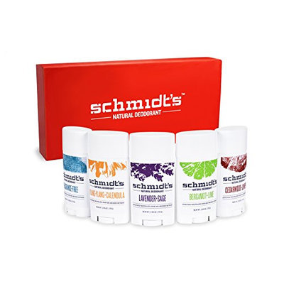 Schmidt's Natural Deodorant Deluxe 5-Pack Sticks Gift Box - Aluminum-free - Odor and Wetness Protection
