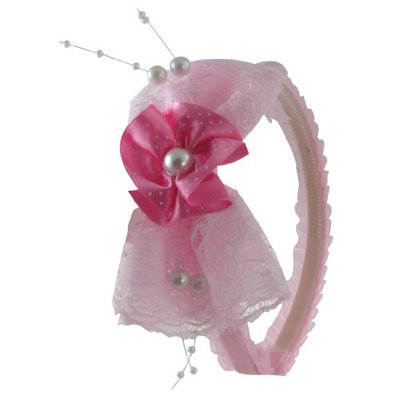 Uxcell Plastic Teeth Frame Girl Lace Flower Bow Hair Band/Hoop