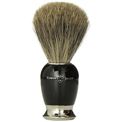 Edwin Jagger 81SB586 Simulated Ebony Pure Badger Hair Shaving Brush with Nickel Plated Collar and End Cap