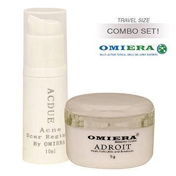 ACNE SCARS TREATMENT Acdue (0.3 fl oz) + Facial Hair Growth Inhibitor Cream Adroit (0.2 fl oz) Skin Care Set By Omiera Labs