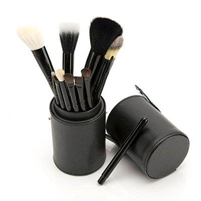 PuTwo Make Up Brushes 12 Piece Set with Make Up Brush Holder - Black
