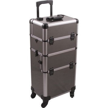 Hiker 4-Wheels 2-in-1 Rolling Makeup Case and Easy-slide and Extendable Trays