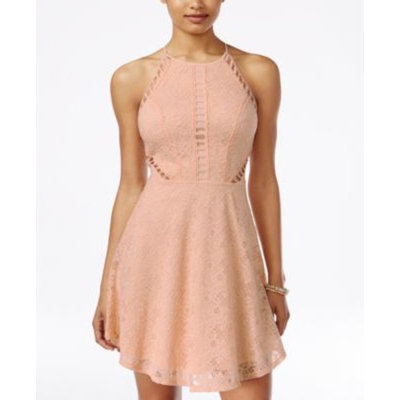 Material Girl Juniors' Cutout Lace Fit & Flare Dress, Only at Macy's