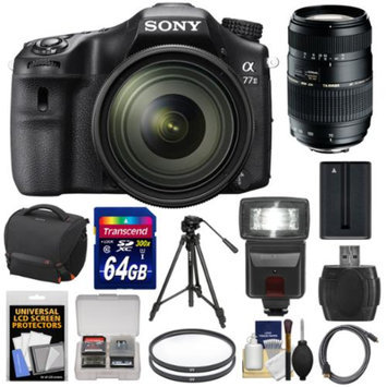 Sony Alpha A77 II Wi-Fi Digital SLR Camera & 16-50mm Lens with 70-300mm Lens + 64GB Card + Battery + Case + Tripod + Flash + Filters + Kit