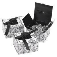 Hortense B. Hewitt Heart Flap Favor Box - Black/White