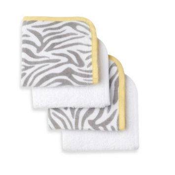 Triboro Quilt Mfg Co Just Born's 4 Pack Washcloths - Zebra