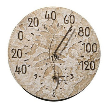 Fossil Sumac Indoor/Outdoor Thermometer and Wall Clock Combo - 14.50