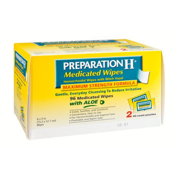 Preparation H Maximum Strength Formula Medicated Wipes with Aloe Pouches - 2 CT