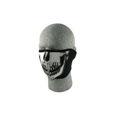 Cold Weather Headwear Neoprene 1/2 Face Mask, Glow in the Dark, Skull Face