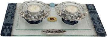 Artsy Casa 5th Avenue Collection Candle Stick w/ Tea Light Applique - Blue-Tray 11 W X 6 L Candlesticks 2 H