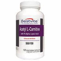 Acetyl L-Carnitine 500mg & R-Alpha Lipoic Acid 150mg (120 Vegetarian Capsules)