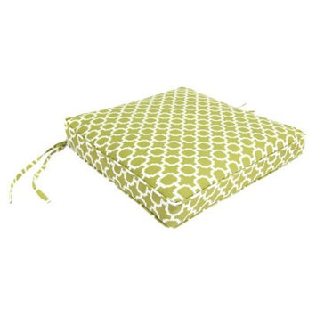 Jordan Outdoor Seat Cushion - Green/White Geometric 20.5