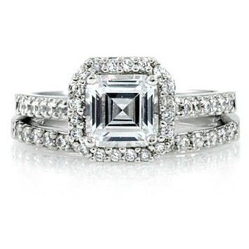 Emitations Devon's 1.5 Carat Asscher Cut Cubic Zirconia Wedding Ring Set