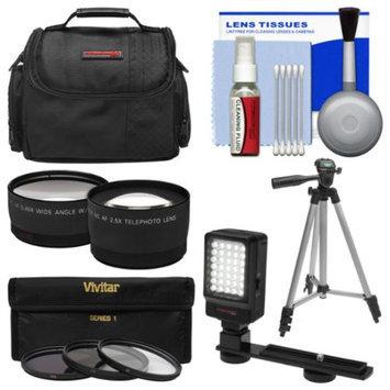 Essentials Bundle for Panasonic HC-V750K & HC-W850K Camcorder with Case + LED Light + 3 UV/CPL/ND8 Filters + Tele/Wide Lenses Kit + Cleaning Kit