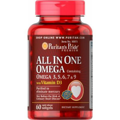 Puritan's Pride All In One Omega 3, 5, 6, 7 & 9 with Vitamin D3-60 Softgels