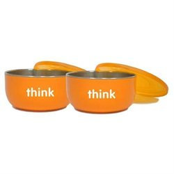 thinkbaby BPA Free Cereal Bowl, Orange, 2 pack