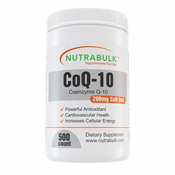 NutraBulk CoQ10 200mg - Immune Support - Antioxidant - Cardiovascular support - High Absorption Soft Gels - 500 count