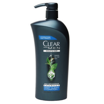 Clear Men Deep Clean Hydration Daily Anti-Dandruff Shampoo, Ginseng Tea Tree Mint, 21.9 fl oz