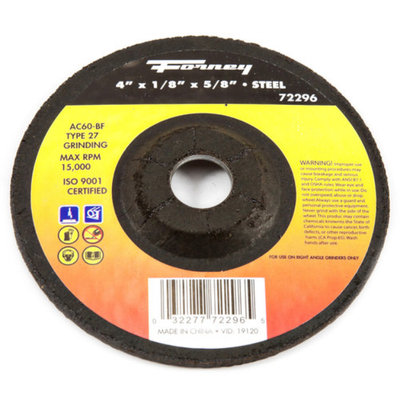 Forney 72296 Grinding Wheel Type 27 Steel Flex with 5/8-Inch Arbor AC60R-BF 4-Inch-by-1/8-Inch
