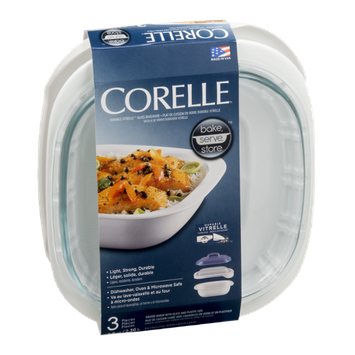 Corelle Square Baker with Glass and Plastic Lids 2.5 QT - 3 CT
