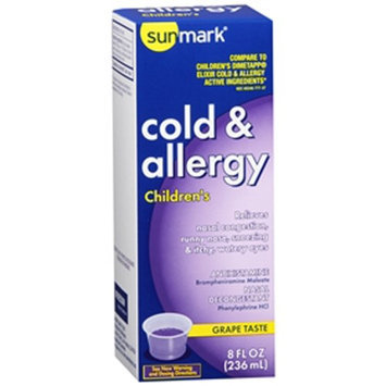 Sunmark Childrens Cold & Allergy Elixire, Grape 8 oz by Sunmark