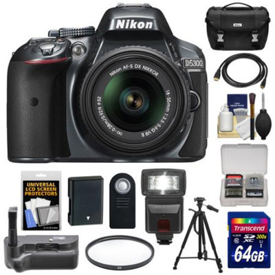Nikon D5300 Digital SLR Camera & 18-55mm G VR DX II AF-S Lens (Grey) with 64GB Card + Battery + Case + Filter + Grip + Flash + Tripod + Kit