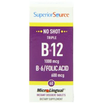 Superior Source No Shot Triple B12/B6 /Folic Acid Multivitamins, 1000 mcg, 60 Count