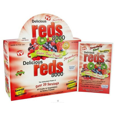 Greens World Inc. Greens World Delicious Reds 8000 Strawberry Kiwi - 24 Packets, 3 Pack (image may vary)