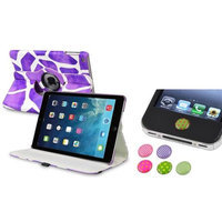 Insten INSTEN Purple Giraffe 360 Leather Case Cover+Home Sticker For Apple iPad Air 5 5th Gen