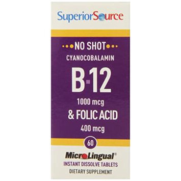 Superior Source No Shot B12/Folic Acid, 1000 mcg/400 mcg, 60 Count
