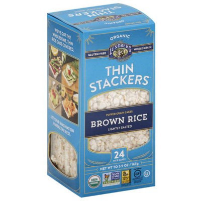 Lundberg Organic Thin Stackers Lightly Salted Brown Rice Puffed Grain Cakes, 5.9 oz, (Pack of 12)