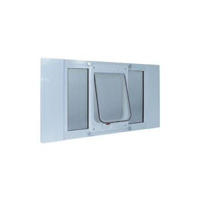 Ideal Pet Products Medium White Aluminum Window Pet Door 27SWDCK