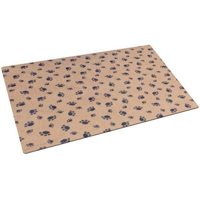 Drymate Small/Medium Dog Bowl Place Mat with Paw Imprint Design, 12-Inch by 20-Inch, Tan