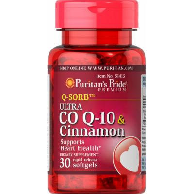 Puritan's Pride Q-SORB Ultra Co Q-10 200 mg & Cinnamon 1000 mg-30 Rapid Release Softgels