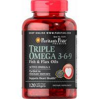 Puritan's Pride Triple Omega 3-6-9 Fish & Flax Oils-120 Softgels