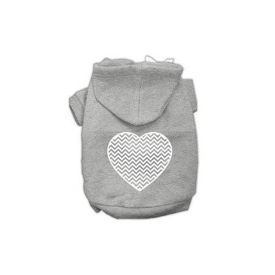 Mirage Pet Products Chevron Heart Screen Print Dog Pet Hoodies Grey Size XS (8)