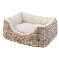 AlphaPooch Cuddler Rectangular Bolster Fleece Dog Bed - Red & Tan Plaid - Large
