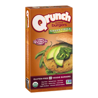 Qrunch Quinoa Burgers Green Chile with Pinto Beans - 4 CT