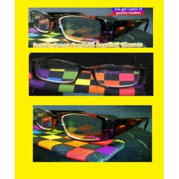 Foster Grant 3 Pack Value Confetti 2.00 Strength Reading Glasses with Spring Hinges and Cases