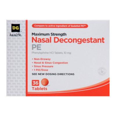 DG Health Nasal Decongestant PE - Tablets, 36 ct