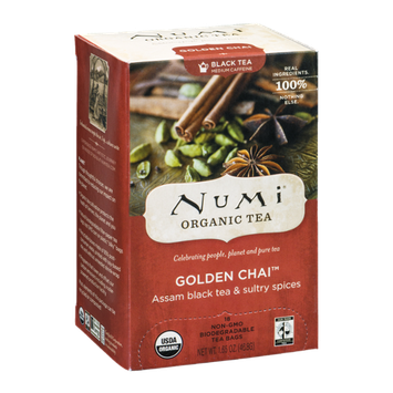 Numi Organic Black Tea Bags Golden Chai - 18 CT