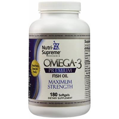 Nutri-Supreme Research Omega-3 Premium Fish Oil - Maximum Strength - 180 Softgels