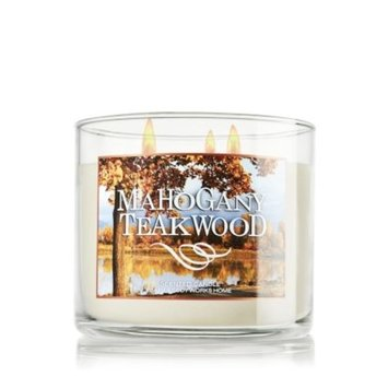 Bath & Body Works 2014 MAHOGANY TEAKWOOD 3 Wick Scented Candle 14.5 oz./411 g