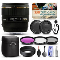 47th Street Photo Sigma 85mm F1.4 EX DG HSM Lens for Sony (320205) with Beginner Accessories Package includes 3 Piece Filter Set (UV-CPL-FLD) + Deluxe Cleaning Kit + Air Dust Blower + Cap Keeper + $50 Prints Gift Card